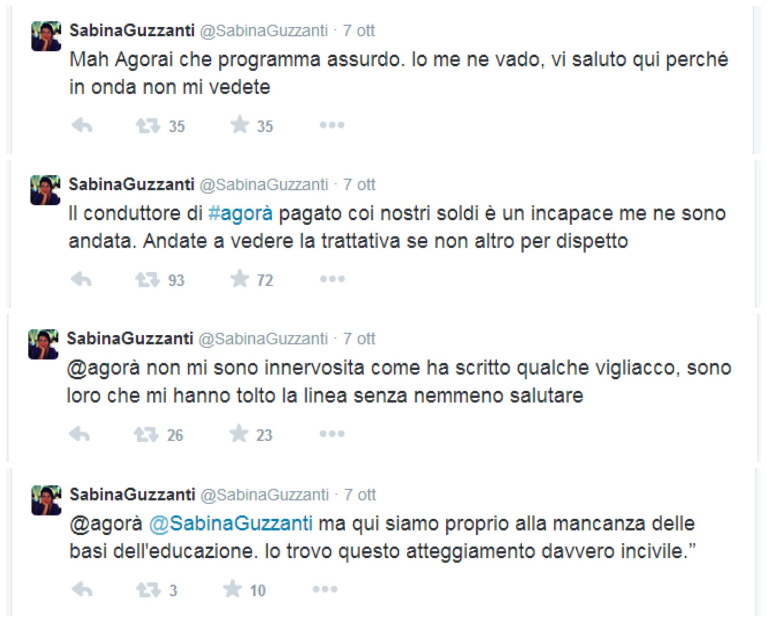 TWITTER FOLIES: SABINA GUZZANTI VS AGORA' E GERARDO GRECO FOLIES