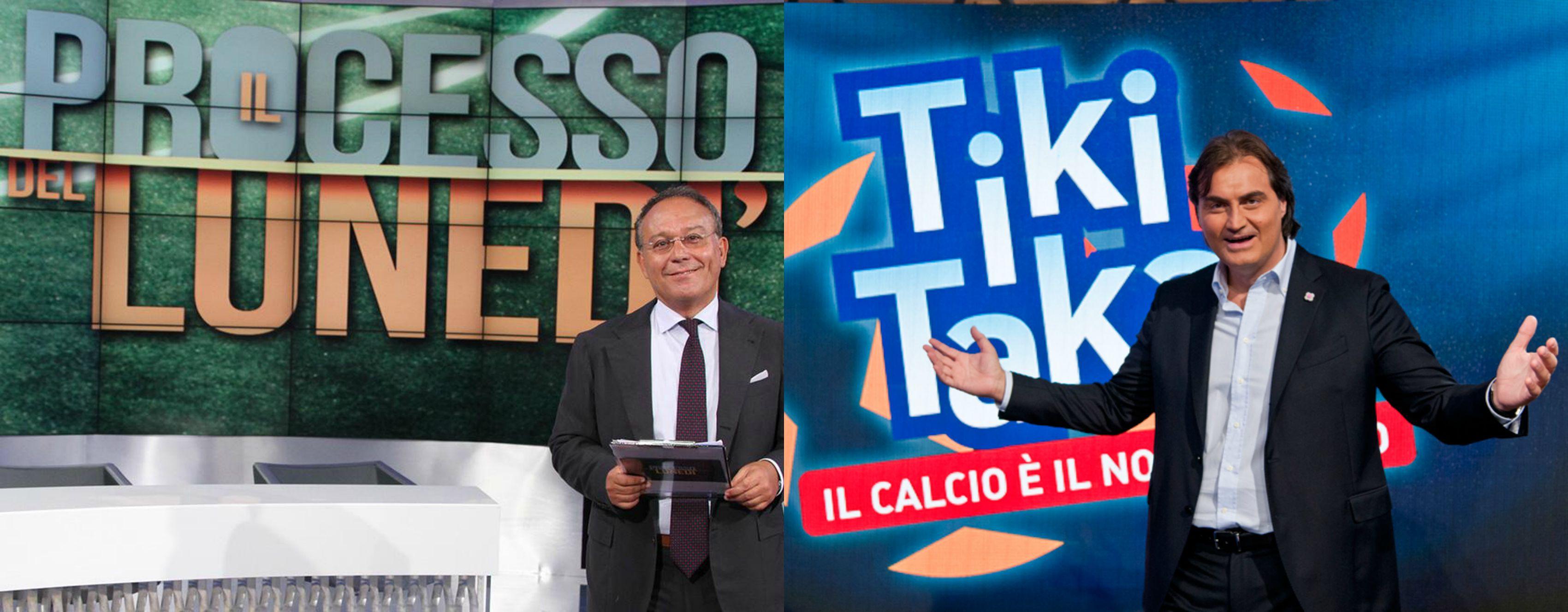 LUNEDI' NOTTE A BASE DI CALCIO: INIZIA QUESTA SERA LA SFIDA TRA IL PROCESSO DEL LUNEDI' (RAI3) E TIKI TAKA (ITALIA1) - ANTICIPAZIONI E OSPITI PicMonkey Collage
