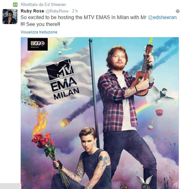 MTV EMA 2015: ED SHEERAN E RUBY ROSE CONDURRANNO LO SHOW A MILANO ED