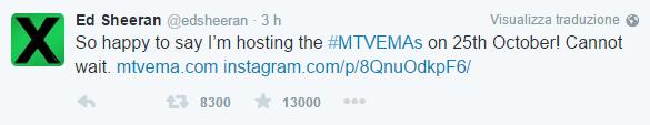 MTV EMA 2015: ED SHEERAN E RUBY ROSE CONDURRANNO LO SHOW A MILANO EDD
