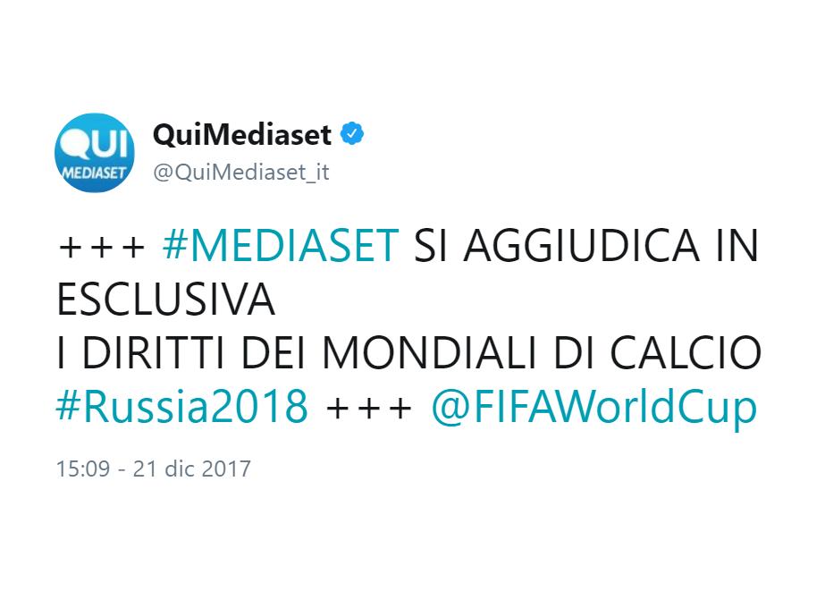 MONDIALI DI CALCIO DI RUSSIA 2018 IN ESCLUSIVA A MEDIASET